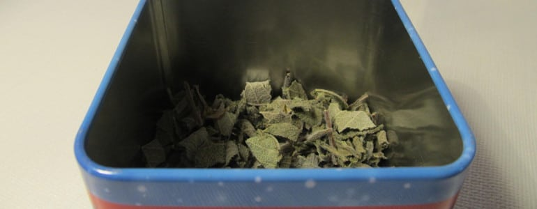 trockener Salbei in einer Dose aufbewahren